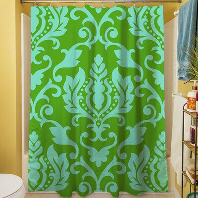 Francie Damask Shower Curtain Color: Green