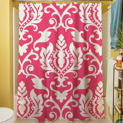 Francie Damask Shower Curtain Color: Pink