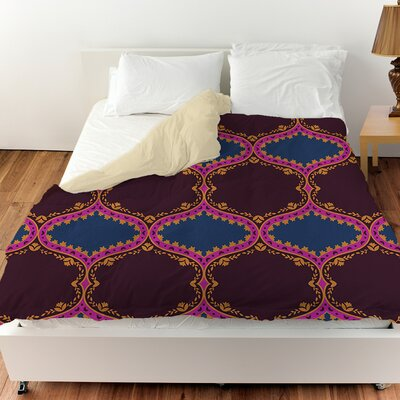 Bird Berries Folk Ogee Duvet Cover Size: Queen