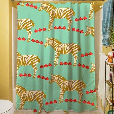 Zebra Shower Curtain Color: Mint