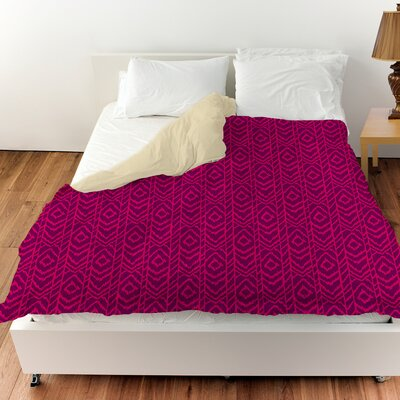 Sketched Ikat Duvet Cover Color: Purple, Size: Twin