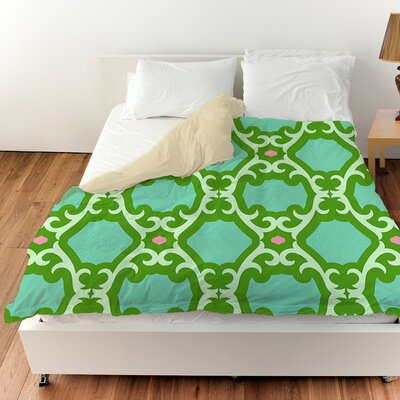 Francie Trellis Duvet Cover Color: Green, Size: Queen
