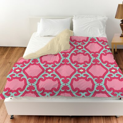 Francie Trellis Duvet Cover Color: Pink, Size: Queen