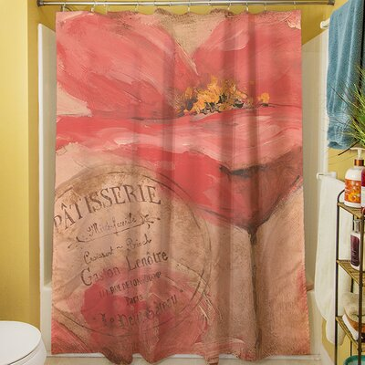 Golden Floral Shower Curtain