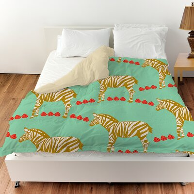 Zebra Duvet Cover Color: Mint, Size: King