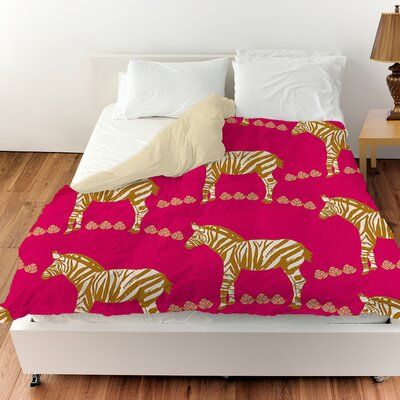 Zebra Duvet Cover Color: Purple, Size: King