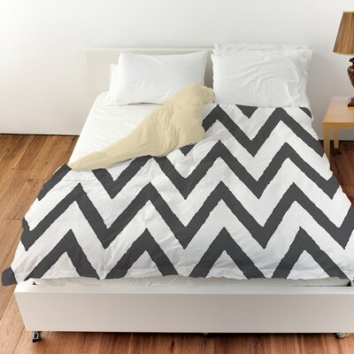 Zig Zag Duvet Cover Color: Gray, Size: Twin