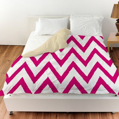Zig Zag Duvet Cover Color: Pink, Size: King