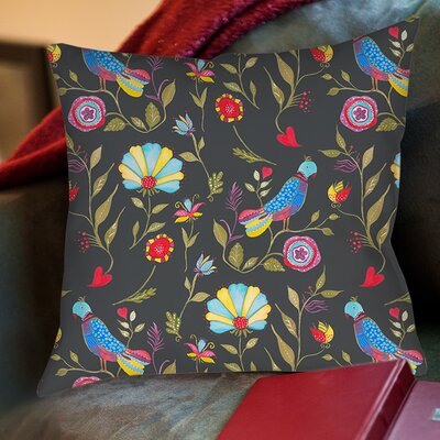 Early Bird Printed Throw Pillow Size: 26 H x 26 W x 7 D, Color: Black