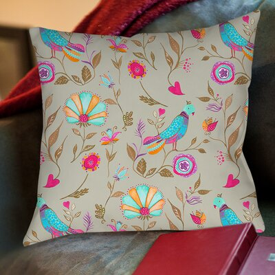Early Bird Printed Throw Pillow Size: 26 H x 26 W x 7 D, Color: Gray
