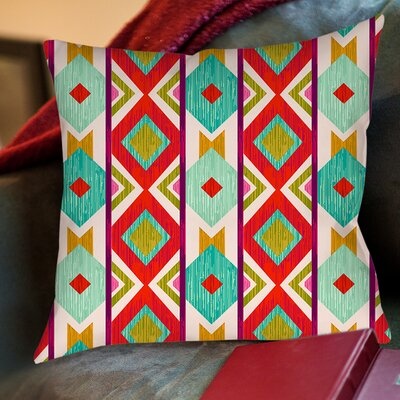 Ikat Printed Throw Pillow Size: 26 H x 26 W x 7 D, Color: Mint