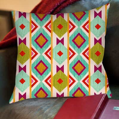 Ikat Printed Throw Pillow Size: 26 H x 26 W x 7 D, Color: White