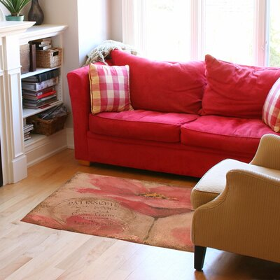 Golden Floral Pink Area Rug Rug Size: 31 x 110.5