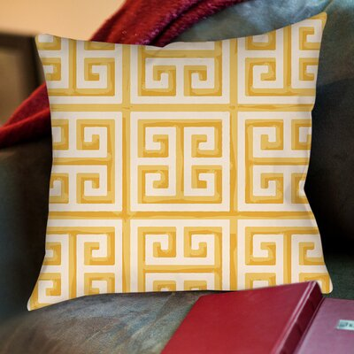 Greek Key II Printed Throw Pillow Size: 18 H x 18 W x 5 D, Color: Yellow