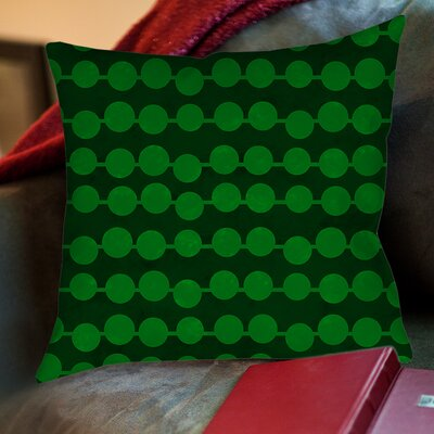 Line Dots Printed Throw Pillow Size: 26 H x 26 W x 7 D, Color: Emerald