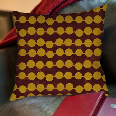 Line Dots Printed Throw Pillow Size: 18 H x 18 W x 5 D, Color: Gold
