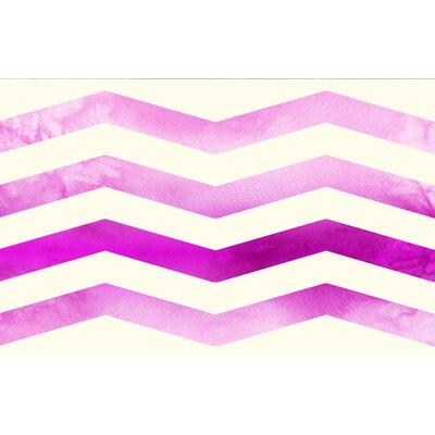Ombre Chevron Pink/White Area Rug Rug Size: 510 x 44