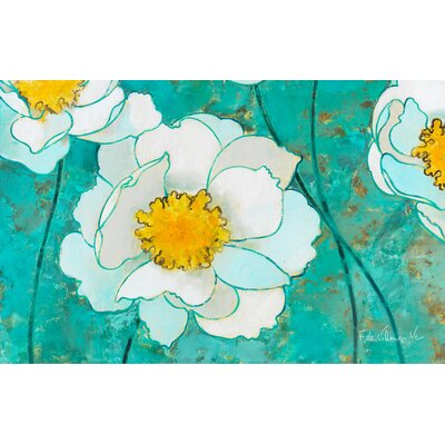 Flower Field Green/White Area Rug Rug Size: 31 x 110.5