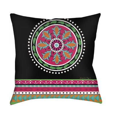Boho Medallion Printed Throw Pillow Size: 16 H x 16 W x 4 D, Color: Black
