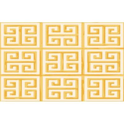 Greek Key II Yellow Geometric Area Rug Rug Size: 31 x 110.5