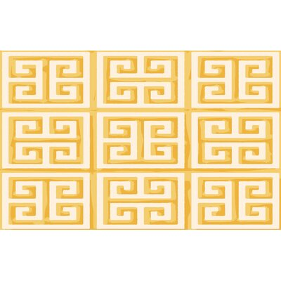 Greek Key II Yellow Geometric Area Rug Rug Size: 510 x 44