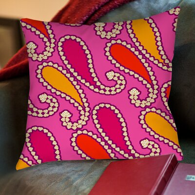Paisley Printed Throw Pillow Color: Purple, Size: 16 H x 16 W x 4 D