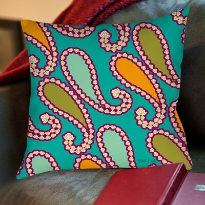 Paisley Printed Throw Pillow Color: White, Size: 16 H x 16 W x 4 D