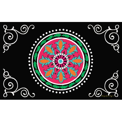 Boho Medallion Square Black Area Rug Rug Size: 31 x 110.5