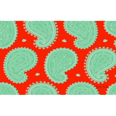 Paisley Mint Floral Area Rug Rug Size: 510 x 44