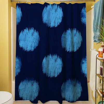 Big Dots Shower Curtain Color: Navy