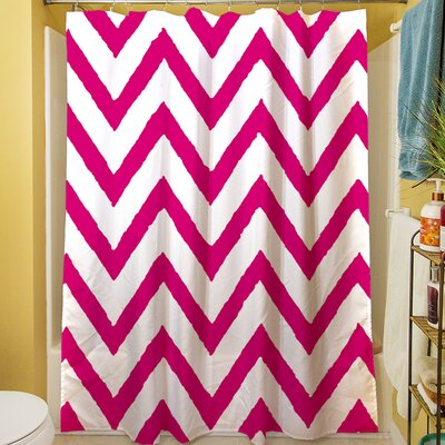 Zig Zag Shower Curtain Color: Pink