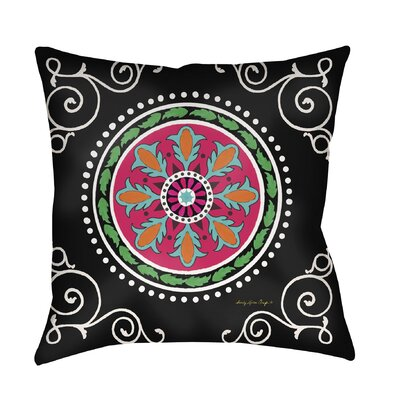 Boho Medallion Printed Throw Pillow Size: 18 H x 18 W x 5 D, Color: Black