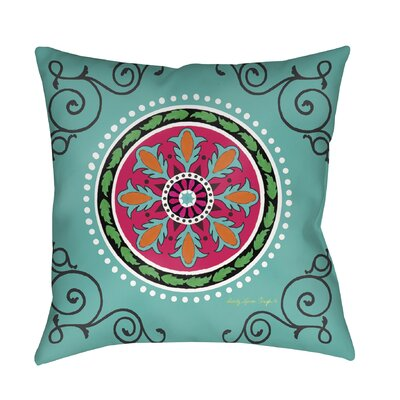 Boho Medallion Printed Throw Pillow Color: Turquoise, Size: 18 H x 18 W x 5 D