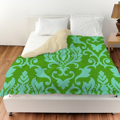 Francie Damask Duvet Cover Color: Green, Size: Queen