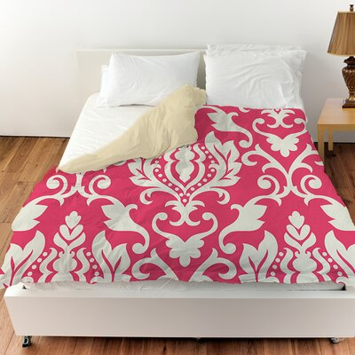 Francie Damask Duvet Cover Color: Pink, Size: Twin
