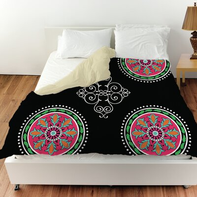 Boho Medallion Square Duvet Cover Color: Black, Size: Queen