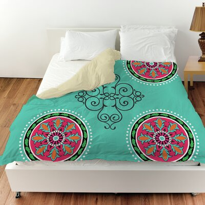 Boho Medallion Square Duvet Cover Color: Turquoise, Size: Twin