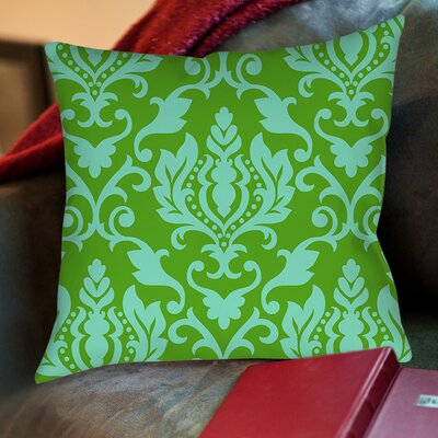 Francie Damask Printed Throw Pillow Color: Green, Size: 18 H x 18 W x 5 D