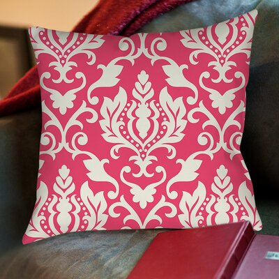 Francie Damask Printed Throw Pillow Size: 16 H x 16 W x 4 D, Color: Pink