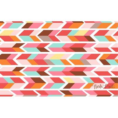 Arrowhead Pink/Blue Chevron Area Rug Rug Size: 31 x 110.5