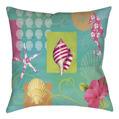 Tropical Beach Printed Throw Pillow Size: 16 H x 16 W x 4 D