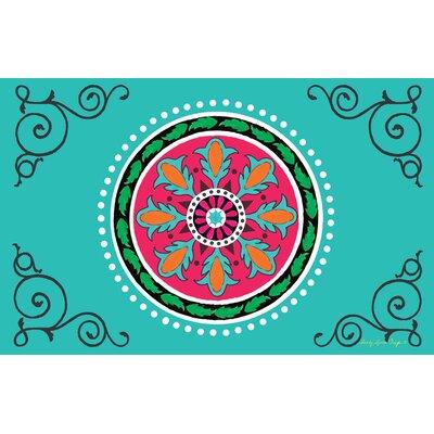 Boho Medallion Square Turquoise Area Rug Rug Size: 31 x 110.5