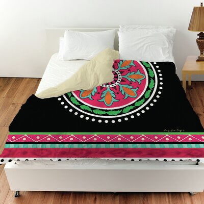 Boho Medallion Square Duvet Cover Size: King, Color: Black