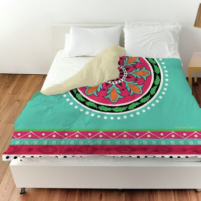 Boho Medallion Square Duvet Cover Color: Turquoise, Size: Queen