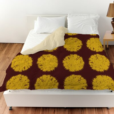 Fuzzy Dots Duvet Cover Size: King, Color: Gold
