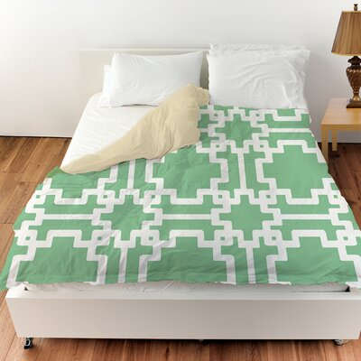 Modern Geometric Mint Duvet Cover Size: King