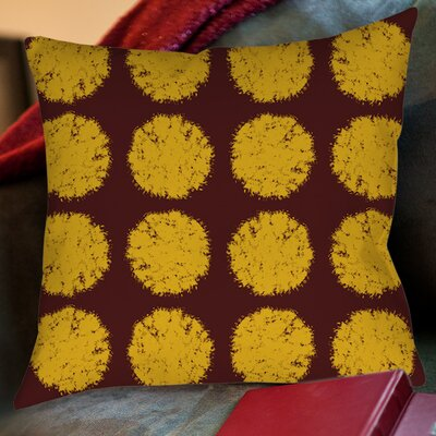 Fuzzy Dots Printed Throw Pillow Size: 26 H x 26 W x 7 D, Color: Gold