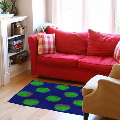 Big Dots Bright Blue/Green Area Rug Rug Size: 510 x 44