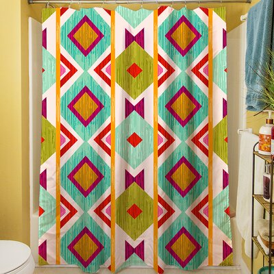 Ikat Shower Curtain Color: White