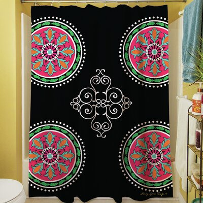 Boho Medallion Square Shower Curtain Color: Black